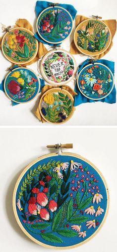 Lauren Singleton creates floral and text embroidery with a carefree style that looks like it was created with a brush rather than needle and thread.