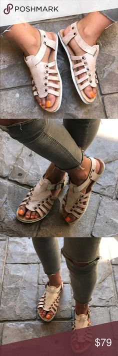 Handmade Distressed Fisherman Sandals Off White/Light Cream Color  Distressed leather upper Adjustable buckle closure Lightly cushioned footbed Available in whole sizes only, half sizes please order the next size up. Sbicca X Anthropologie Anthropologie Shoes Sandals