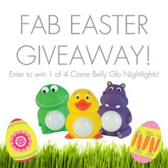 We're giving away FOUR Crane USA Belly Glo Nightlights this weekend in celebration of Easter! From now until Tuesday at 11:59 p.m. EST you can enter daily by clicking on the giveaway tab above OR following the link here > http://tinyurl.com/kyyvd5l. Make sure to share with your friends and family so they can get in on the fun too! Good luck and Happy Easter! #FabBabyGear #EasterGiveaway #Easter #Ottawa