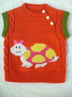 Hem kız , hem erkek çocuklarımızın seveceği hoş bir model. Kaplumbağa desenli süveter yapımı. 2 yaş. Alıntıdır. Malzemeler : Nar çiçeği bebe yünü Sarı bebe yünü