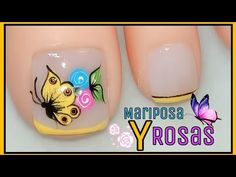 Pretty Toe Nails, Pretty Toes, Toe Nail Flower Designs, Butterfly Makeup, Manicure, Nail Effects, Toe Nail Art, Flower Nails, Nail Polish