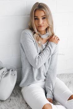 Clarissa Neck Detail Knit Top - Grey $49.95