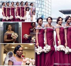 d05ab9b3bc6 2016 Custom Made Nigerian African Wedding Formal Evening Gowns Off Shoulder  Beading Burgundy Mermaid Plus Size Stain Bridesmaid Dresses Ivory Bridesmaid  ...