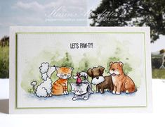handmade celebration card from Peppermint Patty's Papercraft .. adorable image of cats and dogs ... water color fill ... sort and wide ... luv it!