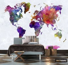 Colourful world map watercolour style wallmural wallpaper World Wallpaper, Wallpaper Murals, Wallpaper Canada, How To Install Wallpaper, Brave New World, World Map Wall, State Art, Wall Design, Your Space
