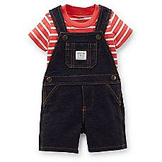 image of Carter's® 2-Piece French Terry Denim Romper and T-Shirt Set in Navy/Red