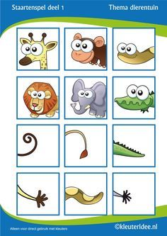 Staartenspel voor kleuters deel thema dierentuin, juf Petra van Kleuteridee, tail game for preschool, free printable. by chasity Animal Worksheets, Animal Activities, Animal Crafts, Toddler Activities, Preschool Jungle, Preschool Activities, Teaching Kids, Kids Learning, Dear Zoo