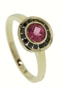 Black Diamond and Pink Tourmaline ring in yellow gold - Brisbane Jeweller - Coloured Gems - MONTASH Jewellery Design - www.montash.com.au