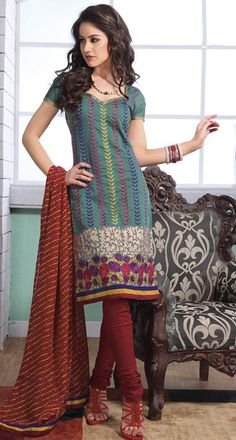 $47.75 Teal Blue Cotton Embroidered Churidar Salwar Suit 23694
