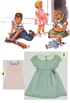 Image from Read with Dick and Jane, Spring Girl School Dress and Amelie Dress from Olive Juice