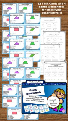 Geometry task cards - classify quadrilaterals!