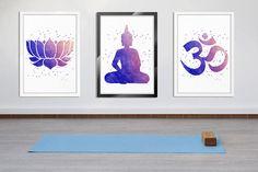 Yoga Wall Art, Meditation Art, Zen Art, Spiritual Art, Yoga Studio, Yoga Wall Decor, Lotus, Om Symbol, Buddha Wall Decor, 3 Prints Set