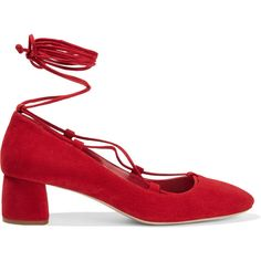Miu MiuSuede Pumps ($278) ❤ liked on Polyvore featuring shoes, pumps, heels, flats, miu miu, red, red suede pumps, suede flats, ankle strap pumps and red flat shoes