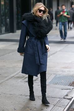 Gigi Hadid's New York City Kempner Harlow Robe Coat and Stuart Weitzman Black Suede Lowland Boots : Fashion Bomb Daily waysify