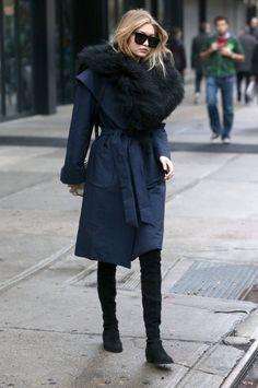 Gigi Hadid's New York City Kempner Harlow Robe Coat and Stuart Weitzman Black Suede Lowland Boots : Fashion Bomb Daily waysify