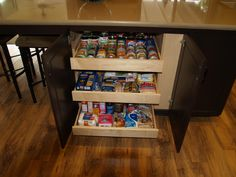 Undercounter Pantry, Slider shelves. 100lb capacity per shelf. Nothing is hidden from view, no more expired 2007 cans.