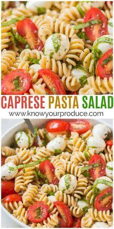 Pasta Salad Make this Caprese Pasta Salad for a delicious vegetarian pasta salad recipe. Everyone will love this easy pasta salad inspired by Caprese Salad, but instead basil tomato mozzarella pasta!Make this Caprese Pasta Salad for a delicious vegetarian Vegetarian Pasta Salad, Tasty Vegetarian Recipes, Vegetarian Meal Prep, Easy Pasta Salad, Pasta Salad Recipes, Healthy Recipes, Healthy Pasta Salad, Pesto Pasta Salad, Delicious Salad Recipes
