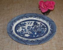 """Blue Willow CHURCHILL 14 1/2"""" Serving Platter / Willow Ware at Retro Daisy Cottage"""