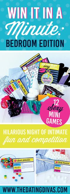 Oh my goodness - this would be such a fun way to liven up the bedroom! Hilarious, Minute to Win It style sexy games! Printables designed by www.cassialeighdesigns.com www.TheDatingDivas.com