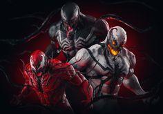 ArtStation - Venom X Carnage X AntiVenom, Abrar Khan Anti Venom Marvel, Venom Spiderman, Spiderman Art, Amazing Spiderman, Symbiotes Marvel, Venom Art, Venom Comics, Cultura Pop, Marvel Heroes