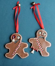 Zombie Gingerbread Men Creepy Cute Christmas Ornaments Set Of 2.