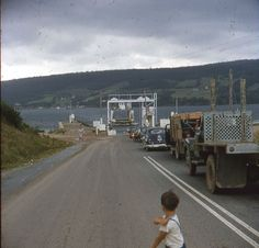 ~Pic 9~ Approaching Ferry Crossing,  Little Mike Looking on. Place:  Northern Ontario. Date 1955 Her Age: 28