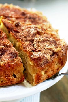 Easy Cinnamon Sugar Apple Cake – a soft cake filled with juicy apples, topped with cinnamon and sugar. This is a real fall treat. I find fall truly inspiring, something like a break between summer and winter and the upcoming holidays Apple Cake Recipes, Apple Desserts, Just Desserts, Baking Recipes, Delicious Desserts, Dessert Recipes, Apple Cakes, Easy Apple Cake, Cookie Recipes