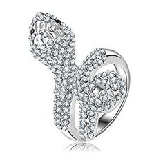 Amazon.com: Smile_Jewelry Snake Ring Jewelry Austrian Crystal Animal Rings Platinum Plating Rings Made With Genuine SWA Element: Clothing