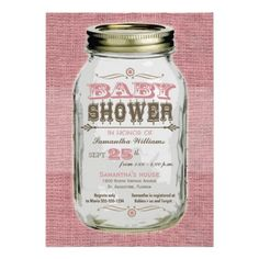 Mason Jar Vintage Look Girl Baby Shower Announcement