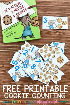 free printable cookie counting puzzles -If you give a mouse a cookie cookiemath counting kindergarten preschool bookactivity 363384263683056721 Numbers Kindergarten, Numbers Preschool, Preschool Literacy, Preschool Books, Free Preschool, Kindergarten Classroom, Classroom Activities, Book Activities, Preschool Activities