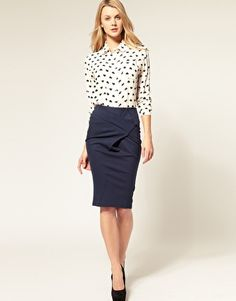 I need a Navy Pencil Skirt for work Santa