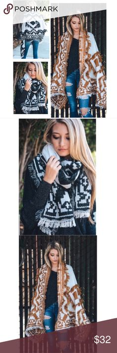 New Super Versatile Boho Chic Frayed Blanket Scarf Super Versatile Boho Chic Frayed Blanket Scarf ➿Available in Black  ➿One Size 77 x 28 ➿100% Acrylic dina aziza Accessories Scarves & Wraps