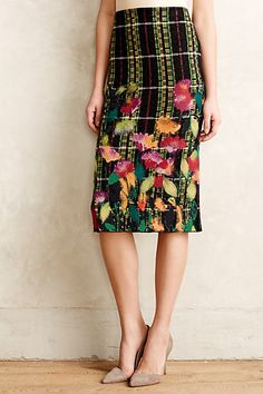 Blossom Checked Pencil Skirt - anthropologie.com