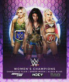 SD Woman Champion Charlotte, NXT Woman Champion Ember Moon & Raw Woman Champion Alexa Bliss