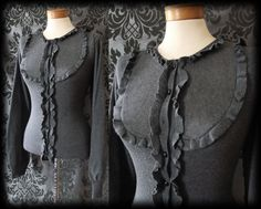 Gothic Grey Frilled Bib Detail LOST LOVE Cardigan Top 8 10 Vintage Victorian - £24.00