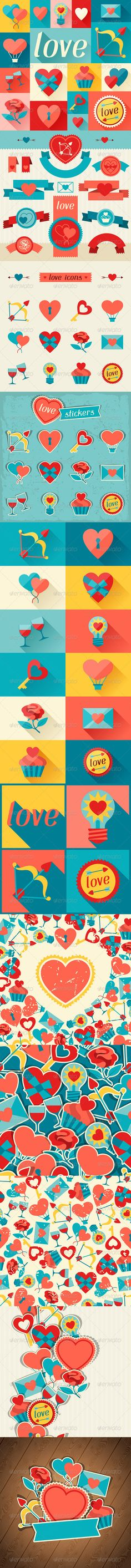 Valentine's and Wedding Backgrounds and Icons.  #GraphicRiver         Valentine's and Wedding backgrounds and icons.   Zip file contain fully editable EPS10 RGB vector files and high resolution pixels RGB Jpeg images. EPS files made using gradients, transparency. Does not contain blends, meshes. Files does not contain foreign objects such as outside assets, brushes, symbols, fonts, images or other resources. Objects in the files are distributed by organized layers. Contains the author's…