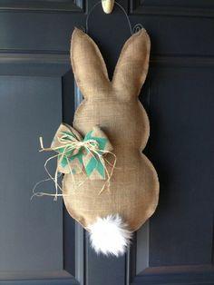Cute Burlap Easter Bunny Door Decoration