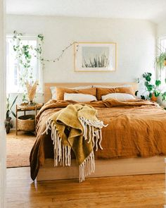Add a boho vibe to your bedroom decor with cinnamon linen bedding. The perfect color that suits to any interior! Bedding by MagicLinen, photo ans styling by Bedroom Tv Wall, Guest Bedroom Office, White Bedroom Furniture, Room Ideas Bedroom, Bedroom Black, Fall Bedroom Decor, Bedroom Bed, Bedroom Apartment, Guest Room