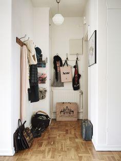 hallway, entrance, home, wooden floors, coat rack, bag, vintage, interior