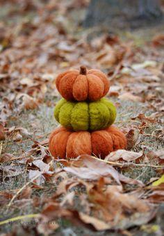 Wool Pumpkins Needle Felted by Teresa Perleberg