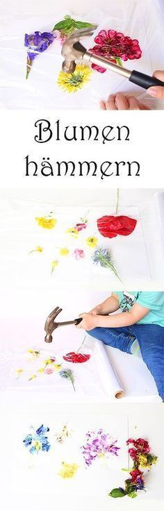 Basteln und Malen mit Kindern im Sommer - Blumen hämmern