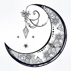 Collection of Crescent Moon Dreamcatcher Drawing Tattoo Feminin, Celestial Tattoo, Moon Mandala, Moon Dreamcatcher, Moon Drawing, Moon Tattoo Designs, Tattoo Stencils, Flower Doodles, Moon Art