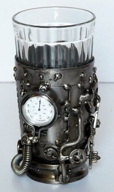 Steampunk glass holder with thermometer #steampunk #fashion #gadgets #inventions