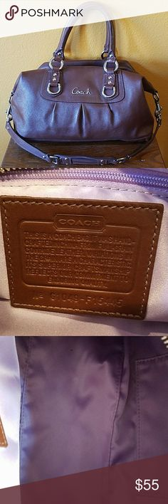 Coach Brown Shoulder Bag NWOT - Beautiful Coach Brown Shoulder Bag w/silver accent hardware.  Purple lining.  New without tags. Coach Bags Shoulder Bags