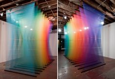 Mesmerizing large-scale art by Gabriel Dawe, using thread and textiles to create environments that deal with notions of social constructions and their relation to evolutionary theory and the self-organizing force of nature.