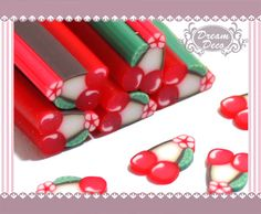 Red Cherry Fruit Polymer Clay Cane / Fimo Cane Stick For 3D Nail Art Decoration Miniature Sweet Food / Dessert / Cake Deco F101. $0.99, via Etsy.