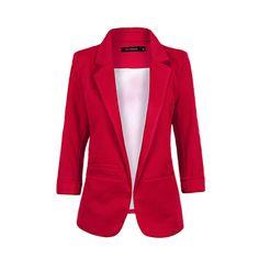 haoduoyi Women's Solid Color OL Style 3/4 Rolled Sleeve Basic Boyfriend Blazer #haoduoyi #Blazer