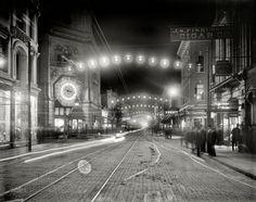 "Charleston, South Carolina, circa 1910. ""King Street lights at night."""