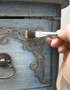 Faded Denim Dresser Makeover Applying Pearl Ex Over Db Gold Wax Distressed Furniture, Upcycled Furniture, Shabby Chic Furniture, Metallic Furniture, Chalk Paint Furniture, Cool Furniture, Furniture Design, Furniture Dolly, Furniture Ideas