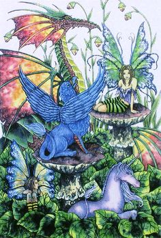 Early Work of Amy Brown Beasties - Fairies and Dragon and Unicorn